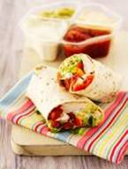 Chicken wrap with Salsa and Guacamole and Sour Cream