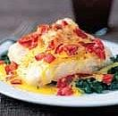 Baked haddock with spinach