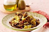 Pappardelle with Pancetta, Pesto & Mushrooms