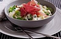 Tagliatelle with Parma Ham, Peas and Two Italian Cheeses