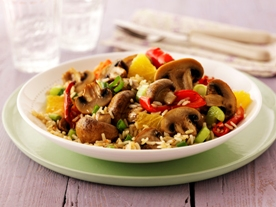 Roasted Mushroom and Rice Salad