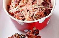 Sticky Pork Kebabs with Sweet Carrot Slaw