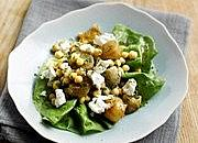 Chickpea, roast shallot and feta salad