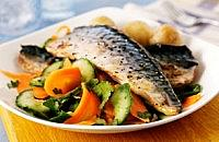 Grilled Mackerel with Carrots and Cucumber Salad