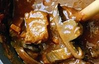 Beef Simmered in Beer with Flat Mushrooms
