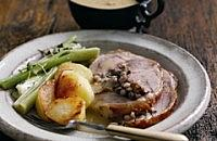 Glazed Roast Saddle of Lamb with Barley and Plum  Stuffing