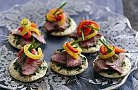 Lamb Blinis with Marinated Peppers and Herb Relish