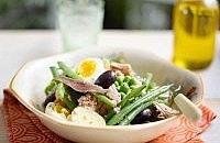 Salad nicoise with fresh british beans and peas