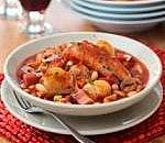 Quick shallot and sausage cassoulet with garlic crostini