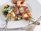 Parma Ham-wrapped scallop and king prawn skewers
