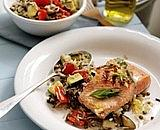 salmon with a roasted vegetable, lentil and garlic wild rice salad
