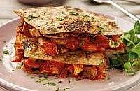 Spicy chicken wholemeal tortilla stack