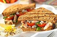 Smoked mackerel panini with tomatos