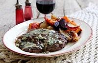 Steaks with Blue Cheese and Roasted Vegetables