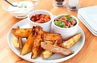 Potato Dippers with Guacamole and Salsa