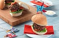 Beef Burgers with Red Pepper Relish