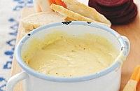 Cheddar fondue with root veg