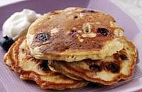 Banana- blueberry American- style pancakes