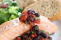 Barbecued salmon & black bean balsa
