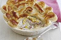 Bacon, leek and sweetcorn puff pie