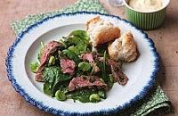 Beef with Broad Bean and Spinach Salad