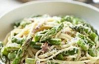 Asparagus, pancetta and parmesan linguine with chive cream