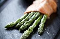 Asparagus wrapped in smoked salmon