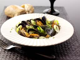 Leeks and Mussels in a Cider Sauce