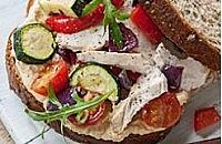 Roast vegetable and chicken sandwich