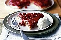 Cranberries and apple tarte tatin