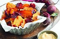 Sweet potato and beetroot crisps