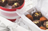 Chocolate and gold leaf truffles