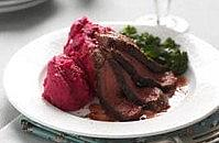 Steak with chilli beetroot mash