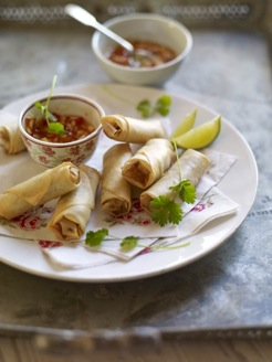 Prawn and pork spring rolls