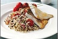Sea bass, lentil and rice salad
