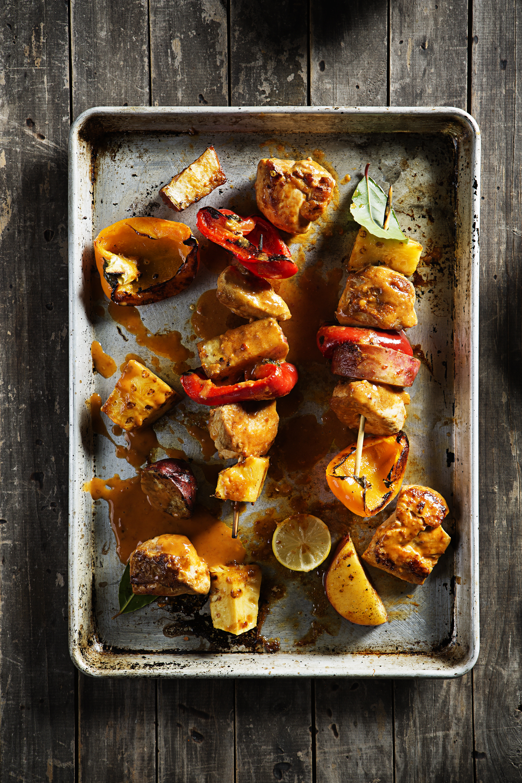 Chicken, pineapple kebabs