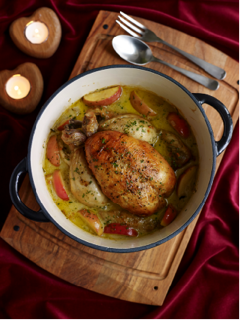 Pot-roast chicken with cider and apples