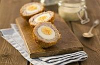 Scotch eggs with dipping sauce