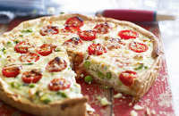 Pea, ricotta and tomato tart