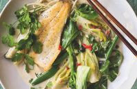 Sea bass with udon noodles