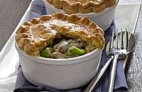 Ham, leek, garlic and herb pies