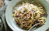 Pea & pancetta spaghetti