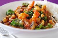 Prawn and kale curry