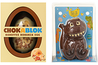 Tesco ChokaBlok Banana Bonanza Easter Egg 300g, £5; Tesco Chocolate Doug The Dinosaur 200g, £4 (available exclusively at Tesco)