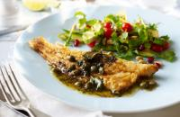 Sea bass with caper sauce