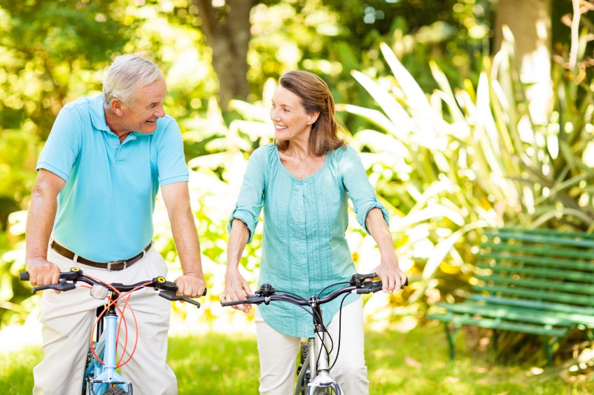 Happy Senior Couple Sitting On Bicycles In Park