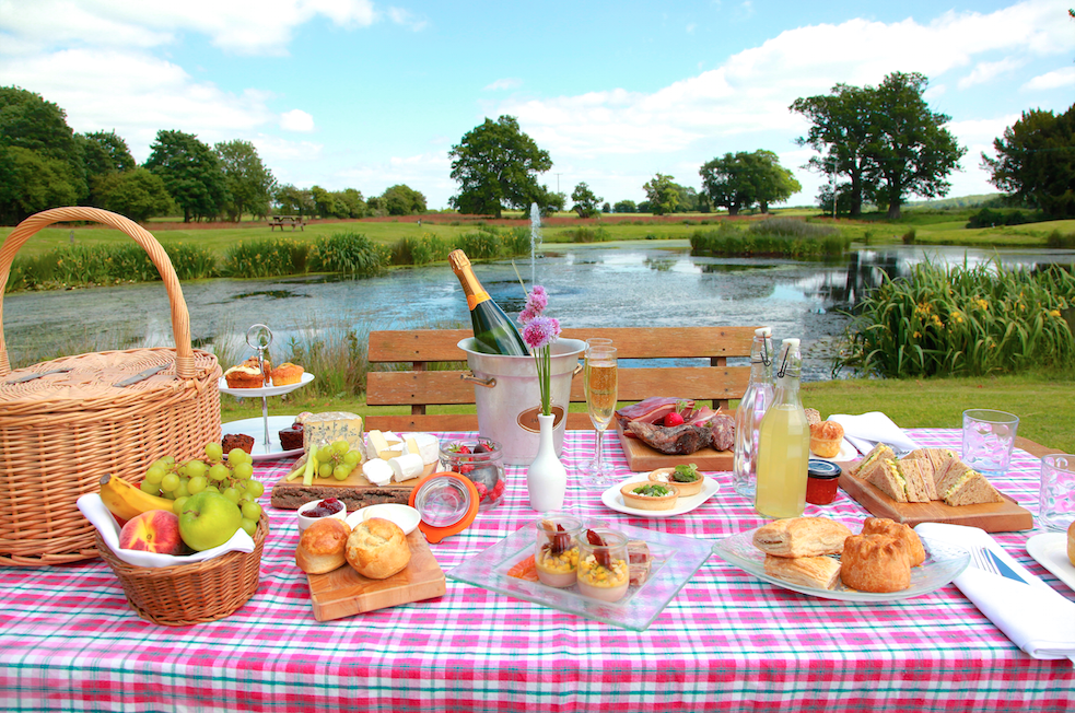 A picnic served in the grounds of Llansantffraed Court Hotel, Monmouthshire