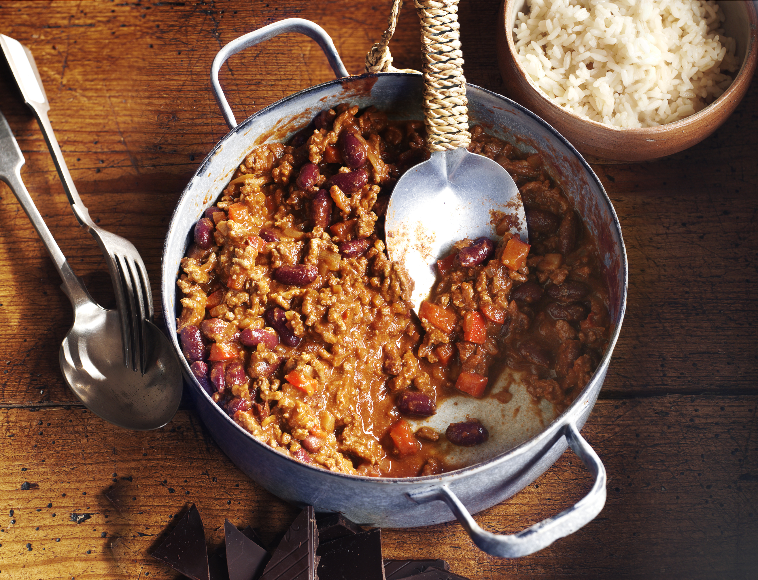 Chilli con carne with chocolate candis for Adding chocolate to chilli con carne