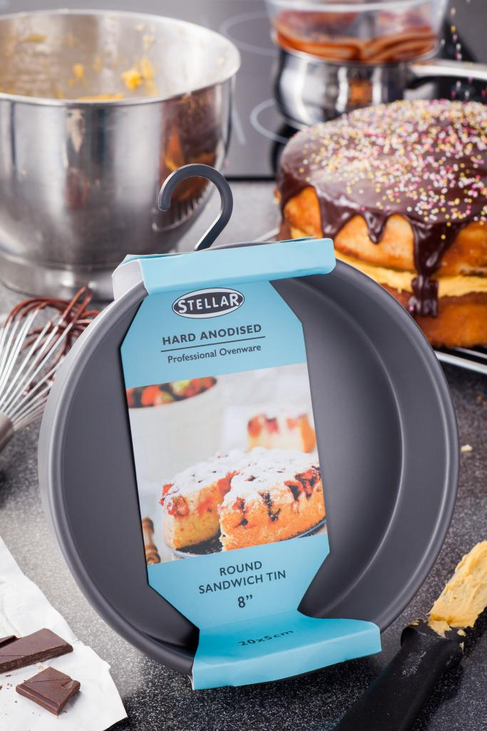 SHA10 Stellar Hard Anodised Bakeware 8 Inch Round Sandwich Tin - Lifestyle