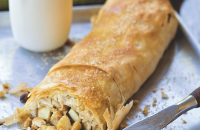 Spiced apple and hazelnut strudel